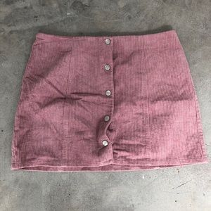 Pink button up corduroy skirt